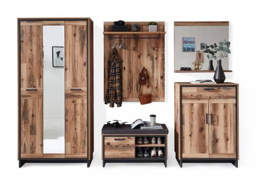 PASADENA Garderobenset I, Material Dekorspanplatte, Alpine Lodge Nachbildung/graphitfarbig