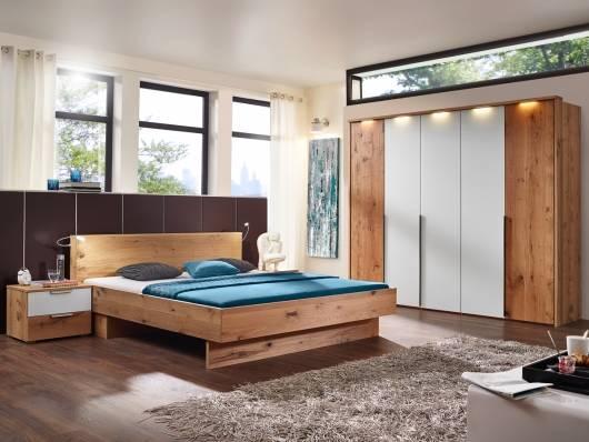 RIVERA Komplett Schlafzimmer, Material Echtholzfurniert, Alteiche biancofarben/weiss Glas