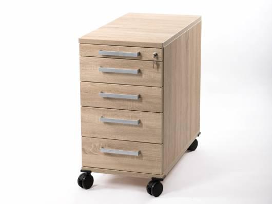 OFFICE ONE Rollcontainer groß mit 4 Organisationsschubkästen, Material Dekorspanplatte