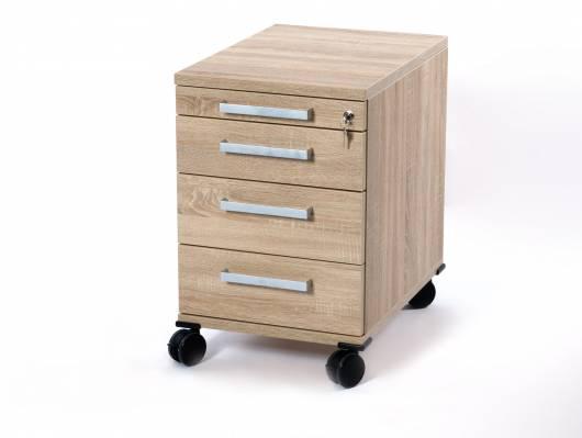 OFFICE ONE Rollcontainer klein mit 3 Organisationsschubkästen, Material Dekorspanplatte