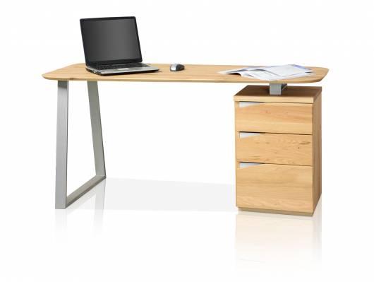MORI Schreibtisch, Material Teilmassiv, Asteiche furniert mit Metallgestell
