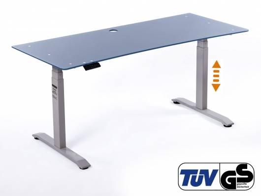 OFFICE ONE elektrisch verstellbarer Schreibtisch / Stehtisch, Material Glasplatte 10 mm