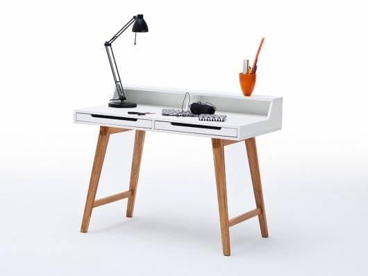 TAMY Schreibtisch, Material MDF, matt weiss lackiert/Beine buchefarbig