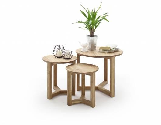 FRIEDOLIN Couchtisch 3-er Set, Material Massivholz, Asteiche geölt