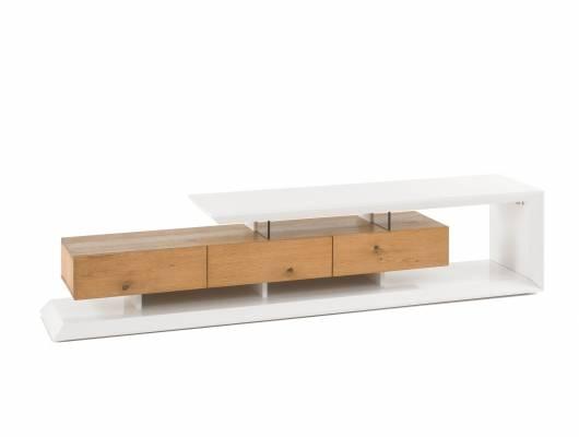 ELROY TV-Lowboard, Material MDF,  weiss matt/Asteiche furniert