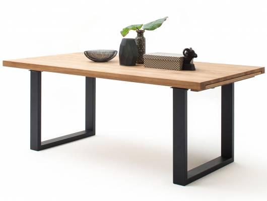 DONNY Massivholztisch / Ausziehtisch, 180/280x100 cm, Material Massivholz, Wildeiche/Gestell anthrazit