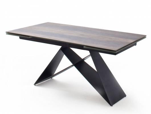 KAJAN Esstisch 160/240x90 cm, Material Glas/Metall holzfarbig/schwarz matt