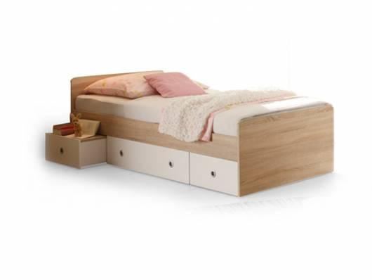TINA Jugendbett 90x200 cm, Material Dekorspanplatte, Eiche sonomafarbig/weiss