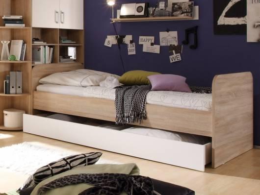 Funktionsbett 90x200 eiche  CASSIAN Bett 90x200 Eiche Sonoma/weiß