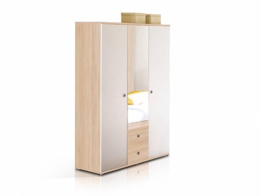 TINA Kleiderschrank 3-türig mit Spiegel Eiche Sonoma/weiss