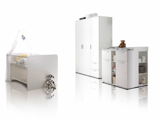BAMBINO Babyzimmer 3tlg, Material Dekorspanplatte, weiss