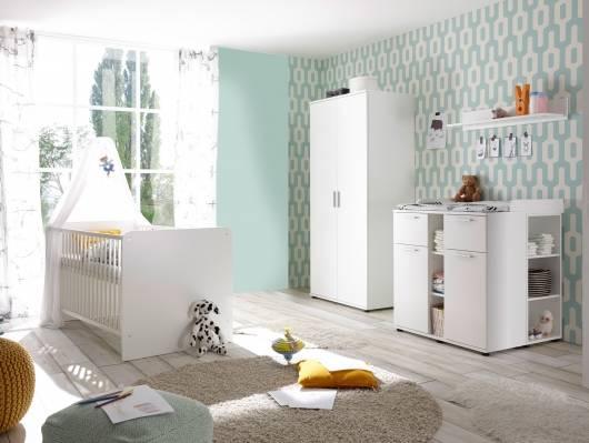 BAMBINO Babyzimmer 3tlg, Material Teilmassiv, weiss