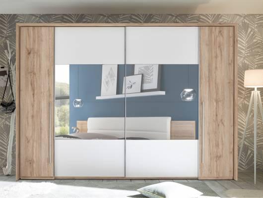 MENORCA Kleiderschrank, Material Dekorspanplatte, Eiche sanremofarbig/weiss