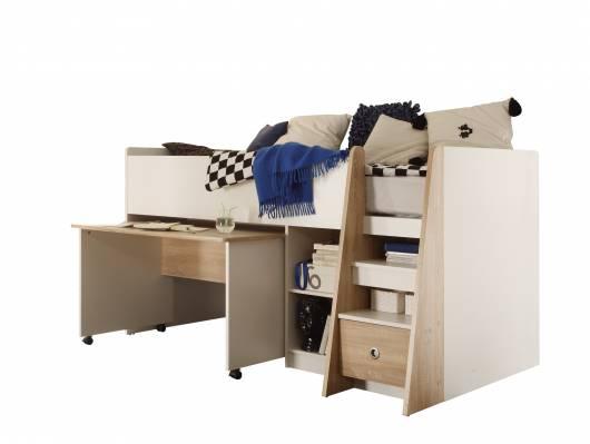 PASCO Hochbett mit Schreibtisch Eiche Sonoma Dekor/weiss