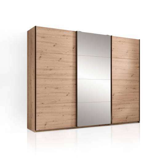 ONELLA Schiebetürenschrank mit Spiegel, Material Dekorspanplatte,  eichefarbig