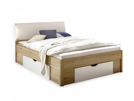 DELGARO Bett / Jugendbett 140x200 cm, Material Dekorspanplatte, eichefarbig/weiss