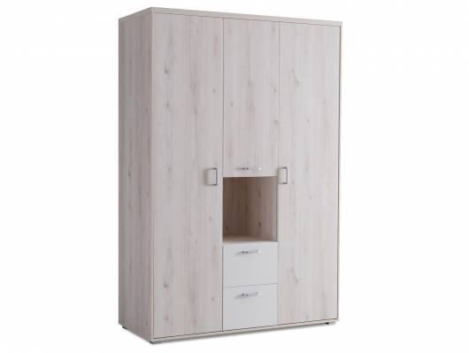 CIPPY Kleiderschrank 3trg, Material MDF, silbereichefarbig/weiss