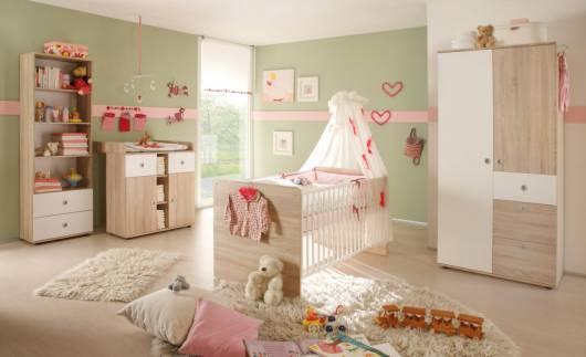TINA Babyzimmer, Material Dekorspanplatte, Eiche sonomafarbig/weiss