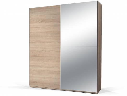 PION Schwebetürenschrank mit Spiegel, Material Dekorspanplatte, Eiche sonomafarbig