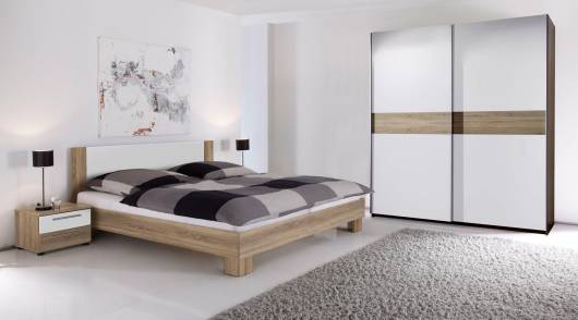 VANTI Komplett-Schlafzimmer 4-teilig weiß/Eiche Sonoma Dekor