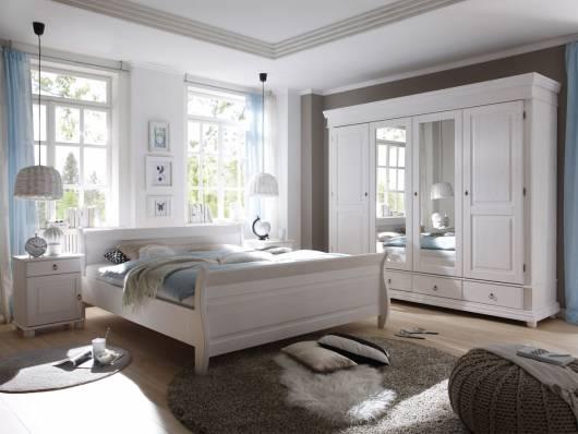 OXFORD Komplett-Schlafzimmer, Material Massivholz, Kiefer weiss