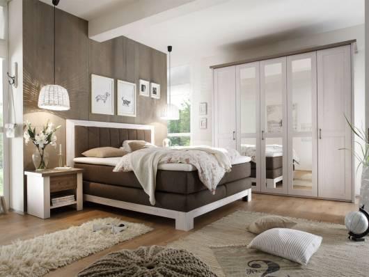 NOAH Schlafzimmer 180x200 cm, Material MDF, weiss piniefarbig/trüffelfarbig