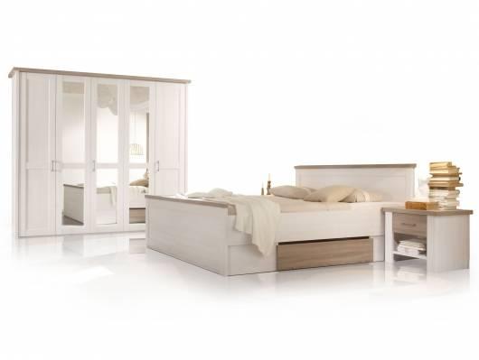 LUBA Komplett-Schlafzimmer, Material MDF, weiss piniefarbig /trüffelfarbig