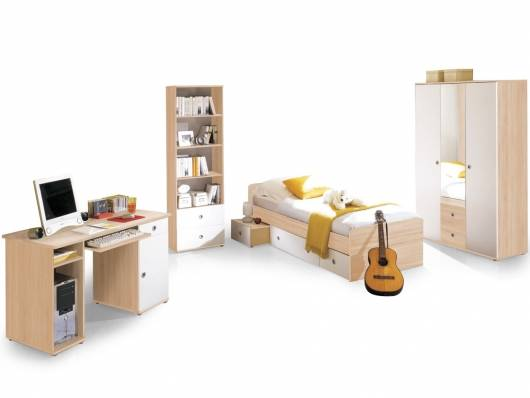 TINA Jugendzimmer 4tlg, Material Dekorspanplatte, Eiche sonomafarbig/weiss