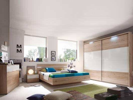 PIRA Komplett-Schlafzimmer, Material Dekorspanplatte, Eiche sanremofarbig/weiss Glanz