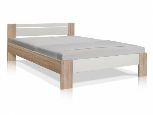 VEGAS Komplett-Set Futonbett 140x200 cm inkl. Rollrost und Matratze, Material Dekorspanplatte, Eiche sonomafarbig/weiss