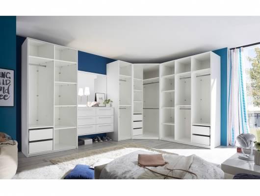 MELBOURNE Kleiderschranksystem ohne Türen, Material Dekorspanplatte, weiss