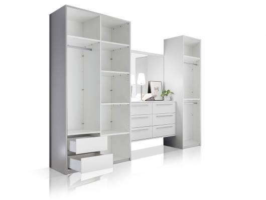 MELBOURNE Kleiderschrankkonzept II ohne Türen, Material Dekorspanplatte, weiss