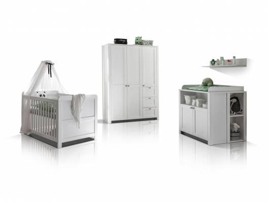 LEVINA Komplett-Babyzimmer, Material Dekorspanplatte, weiss/piniefarbig