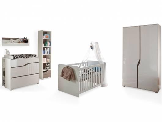 MONOLITO Komplett-Babyzimmer, Material MDF, weiss Hochglanz /Eiche sonomafarbig