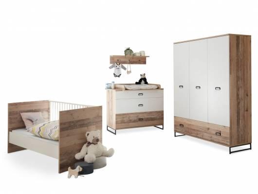RANNY Komplett-Babyzimmer, Material Dekorspanplatte, Old Style hell/weiss
