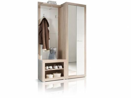 CANIO Garderobe, Material Dekorspanplatte, Eiche sonomafarbig/weissglanz