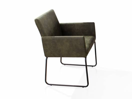 NARA Armlehnenstuhl / Sessel, Material Stoff/Metall, dunkelgrün/schwarz