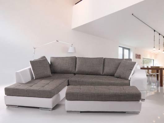 husam sofa kunstleder weiss webstoff grau ottomane links. Black Bedroom Furniture Sets. Home Design Ideas