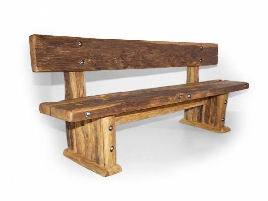 WIKINGER Sitzbank / Massivholzsitzbank mit Lehne, Material Massivholz