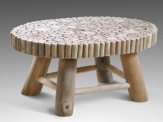 Ovaler Couchtisch aus Teakästen 90x60 cm, Material Massivholz