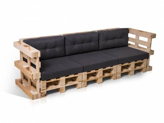 PALETTI 3-Sitzer Sofa aus Paletten natur