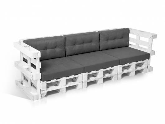 PALETTI 3-Sitzer Sofa aus Paletten weiss lackiert