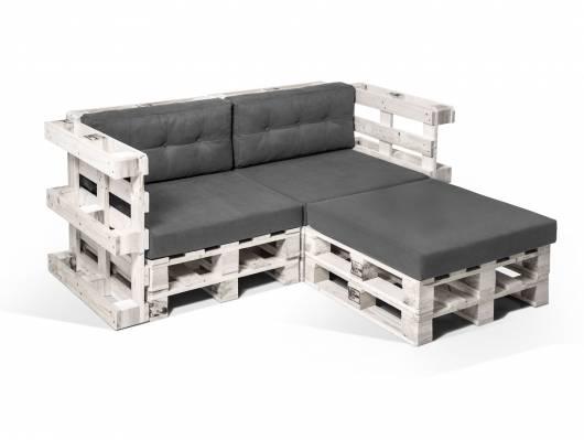 PALETTI Ecksofa 2-Sitzer aus Paletten weiss lackiert