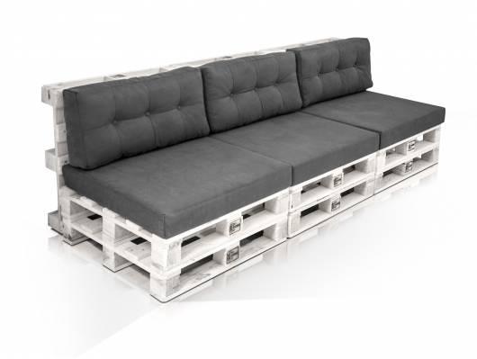 PALETTI 3-Sitzer Sofa aus Paletten Kiefer weiss lackiert