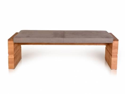 WOOD Sitzbank ohne Rücken mit hochwertigen Bezug, Material Kunstfaser/Massivholz