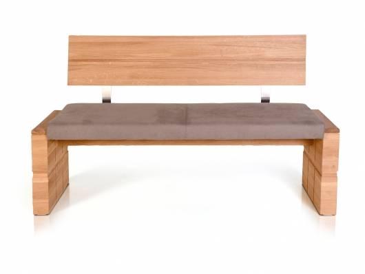 WOOD Sitzbank mit Rücken und massivem Gestell