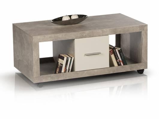 STELLA Couchtisch, Material Dekorspanplatte, betongrau/weiss