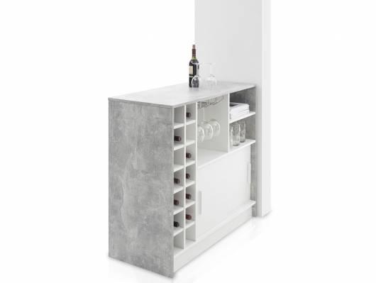 PALINO Bartisch, Material Dekorspanplatte, weiss/betonfarbig