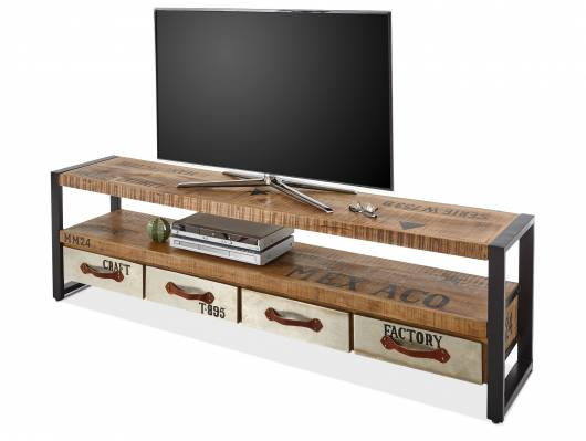 MEDANIE TV-Lowboard, Material Mango massiv/Gestell Metall schwarz