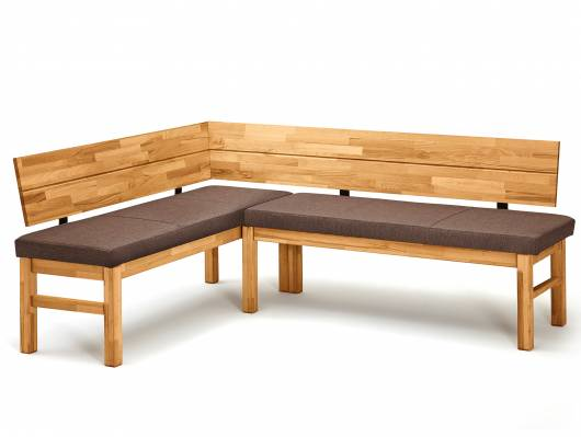 RENALDO Eckbank, Material Massivholz / Stoff, Wildeiche massiv/Stoff braun